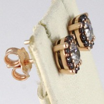 18K ROSE PINK GOLD EARRINGS WITH ZIRCONIA, BROWN AND WHITE, MADE IN ITALY image 2