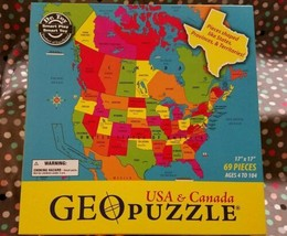 USA Canada Map 69 Piece Geo Puzzle by Dr. Toy  Educational States GIFT S... - $12.60