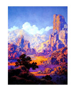 "Arizona, 1950, Maxfield Parrish, Desert, Landscape 11x14"" Cotton Canvas ... - $23.99"