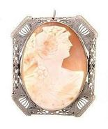 Large 14K White Gold New Cameo Brooch / Pendant  - $455.00