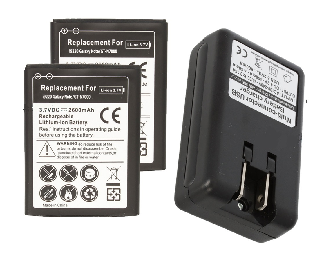 2 replacement battery and Wall Charger for Samsung Galaxy Note GT-N7000 SGH-I717