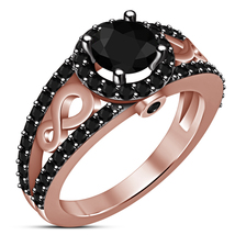 Round Cut Black CZ Rose Gold Plated 925 Sterling Silver Engagement Women... - £59.74 GBP