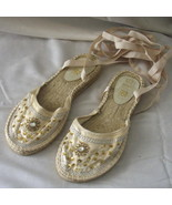New cream size 7 shoes with ballet-style ribbon... - $7.50