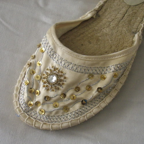 New cream size 7 shoes with ballet-style ribbons, sequins, embroidery & beads