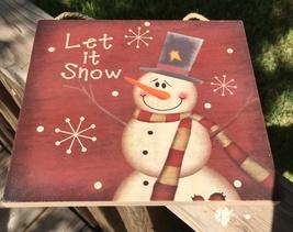 2424 Primitive Wood Hanging Snowman Let it Snow Sign - $9.95