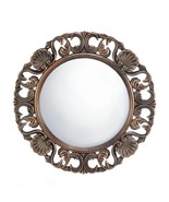 HEIRLOOM ROUND WALL MIRROR Antique Finish 19 Inch Wood Frame - $38.62