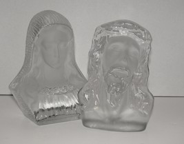 Vintage Jesus and Mary VIKING Glass Bookends  (Pair) - $24.99