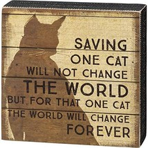 Primitives by Kathy Box Sign - Saving One Cat, 6.5x6.5 inches, Black, Brown - $14.95