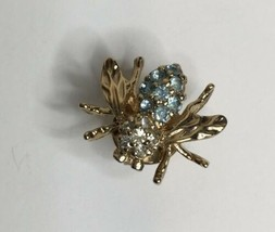 Panetta Signed Bumble Bee Tact Stick Pin Blue w/Stones Rhinestone Head 3... - $44.55