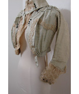 Antique Victorian Jacket Chiffon Silk Velvet Ruffle EDIE ADAMS Bolero XXS - £342.09 GBP