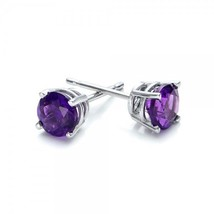 Purple Crystal Ball Stud Earrings 8mm Small Made With SWAROVSKI Crystal ... - $11.75