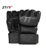ZTTY Half Finger Boxing Gloves PU Leather MMA Fighting Kick Boxing Glove... - $44.38