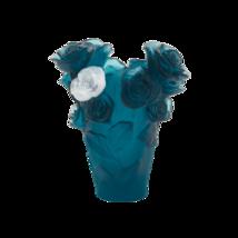 Daum  Small blue vase & white rose Rose Passion Crystal 05287-7 France - $1,236.51