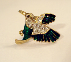 Rhinestone Hummingbird Scatter Pin Green Enamel Gold Plated Lapel Brooch ✿ VTG  - $19.76