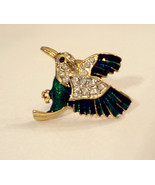 Rhinestone Hummingbird Scatter Pin Green Enamel Gold Plated Lapel Brooch... - $19.76