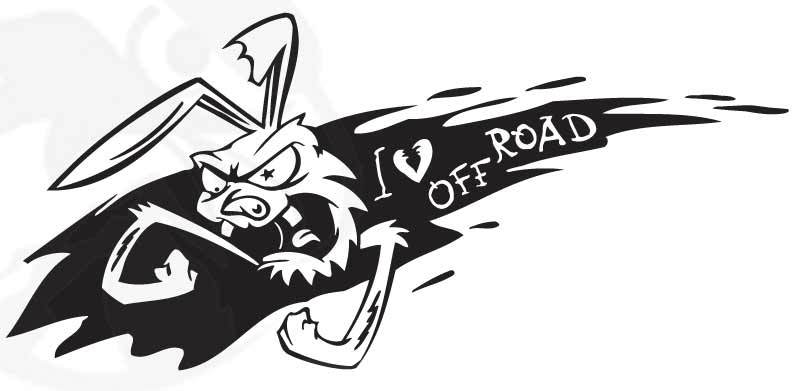 "Angry Rabbit I (heart) Off Road Sticker Decal (11"" by 5"")"