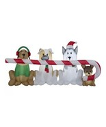 NEW Christmas Dogs Pups Sharing Candy Cane 8ft Inflatable Lit Yard Decor... - $79.93