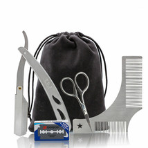 Beard Trimming Tools Kit with Beard Shaping Comb Scissor Straight Razor ... - $16.82