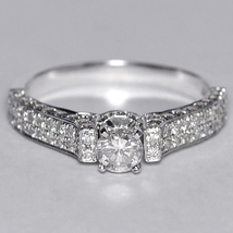 Natural Round Diamond Engagement VIntage Ring Women 14K White Gold 1.00 ... - $1,490.00