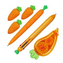 Restards Writing Essentials Kit - Lovely Carrot Design Multicolor Ball Pen, Mech