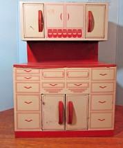 Vintage Wolverine Children Tin Litho Red/White Kitchen Cabinet - $49.50