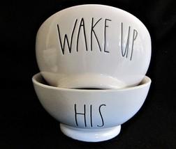 2x Rae Dunn Soup Cereal Dessert Bowls Script WAKE & HIS Stoneware - £15.85 GBP