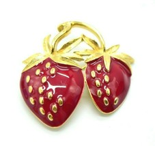 Trifari Red Enamel Gold Tone Dual Strawberry Pin Brooch 70s 80s Vintage - $59.39