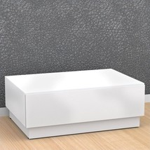 Rectangle Coffee Table w/ Storage Matte White Wood Finish Living Room Fu... - €105,17 EUR
