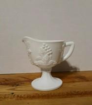 Vintage Milkglass pedestal creamer pitcher/ Fruit motif /colony harvest  - $11.30