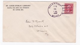 ST. LOUIS PUBLIC LIBRARY POSTMARKED VALENTINES DAY VALENTINE MONT. 2/14/... - $3.48