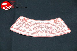 55-60 Chevy Car 2 BBL Truck 4 BBL AC Air Cleaner Service Instructions Decal New - $15.75