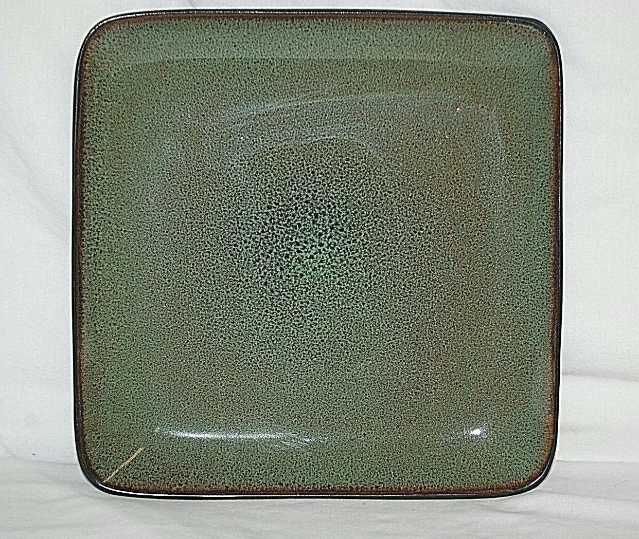 Rave Green Square Home Trends 10-5/8 Dinner Plate Mottled Green w Splashed Brown - $19.79