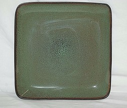 Rave Green Square Home Trends 10-5/8 Dinner Plate Mottled Green w Splash... - $19.79