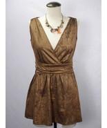 AVON Brown Gold Stretch V-Neck Surplice Empire Shirt Top Blouse NWOT Size S - $12.19