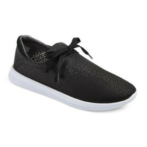 New! Women's Raelee Laser Cut Lace-Up  Black Sneakers - Mossimo Supply Co.