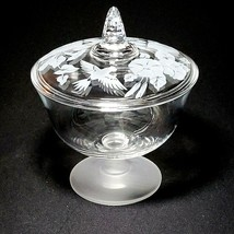1 (One) AVON HUMMINGBIRD Etched Crystal Candy Dish w Lid Made in France - $29.78