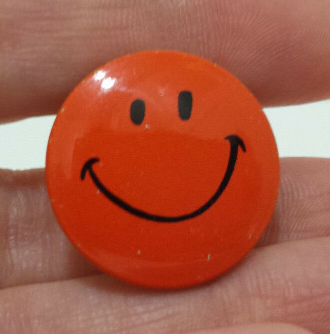 "Primary image for Vintage Orange Smiley Face Pinback Pin Button Creative House 1"" Smile"