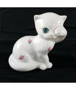 ELPA Alcobaca Porcelain White Cat Painted Flowers Blue Eye Portugal   - $19.79