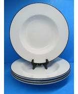 Crate And Barrel Clasique Black Line White Soup Bowls Set Of 4 Bowls Rea... - $9.80