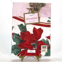 """Christmas Poinsettia 70"""" Round Tablecloth Bardwill Seasons Red Green Cot... - $22.20"""
