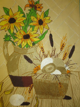"""Completed BROWN-EYED SUSANS IN PITCHER Crewel Embroidery - Design 15"""" x 20"""" - $14.85"""