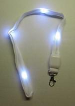 LED Blinking Light Up WHITE LANYARD KEY CHAIN Ring Keychain ID Holder NEW - $14.99