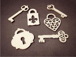 6pcs Wooden Flourish Key & Lock HL087 - $1.95