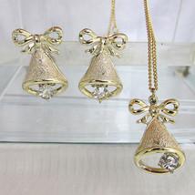 Vintage Golden Holiday Bells Rhinestone Clapper Pendant Necklace & Earri... - $18.00