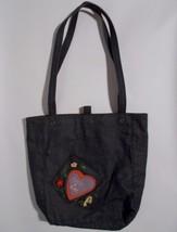 Fossil Forever Denim Tote Bag Dark Blue Stitched Heart Pocket 4 Ever - $14.84