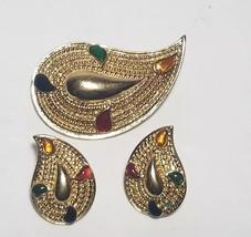 Brooch & Pierced Earring Set NEW Avon Goldtone PAISLEY COLORS 1986 Rhinestone - $22.80