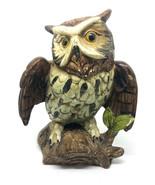 Vintage  JAPAN Ceramic Wild OWL On  Branch Tree Figurine Sculpture - $12.17