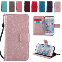 Leather Sun Embossing Wallet Case Stand Cover for iPhone 5 5S SE 6 6S 7 Plus 5.5 - $5.89+