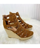"""G By Guess Womens Sz 9 M Wedge Zip Back Espadrille Caged Shoes Heels 4.5"""" - $28.04"""