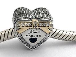 Authentic Pandora Wedding Heart w/ 14k Gold & CZ Charm, 792083CZ, New - $81.69